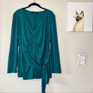Eloquii Dark Green Gathered Front Tie Waist Blouse